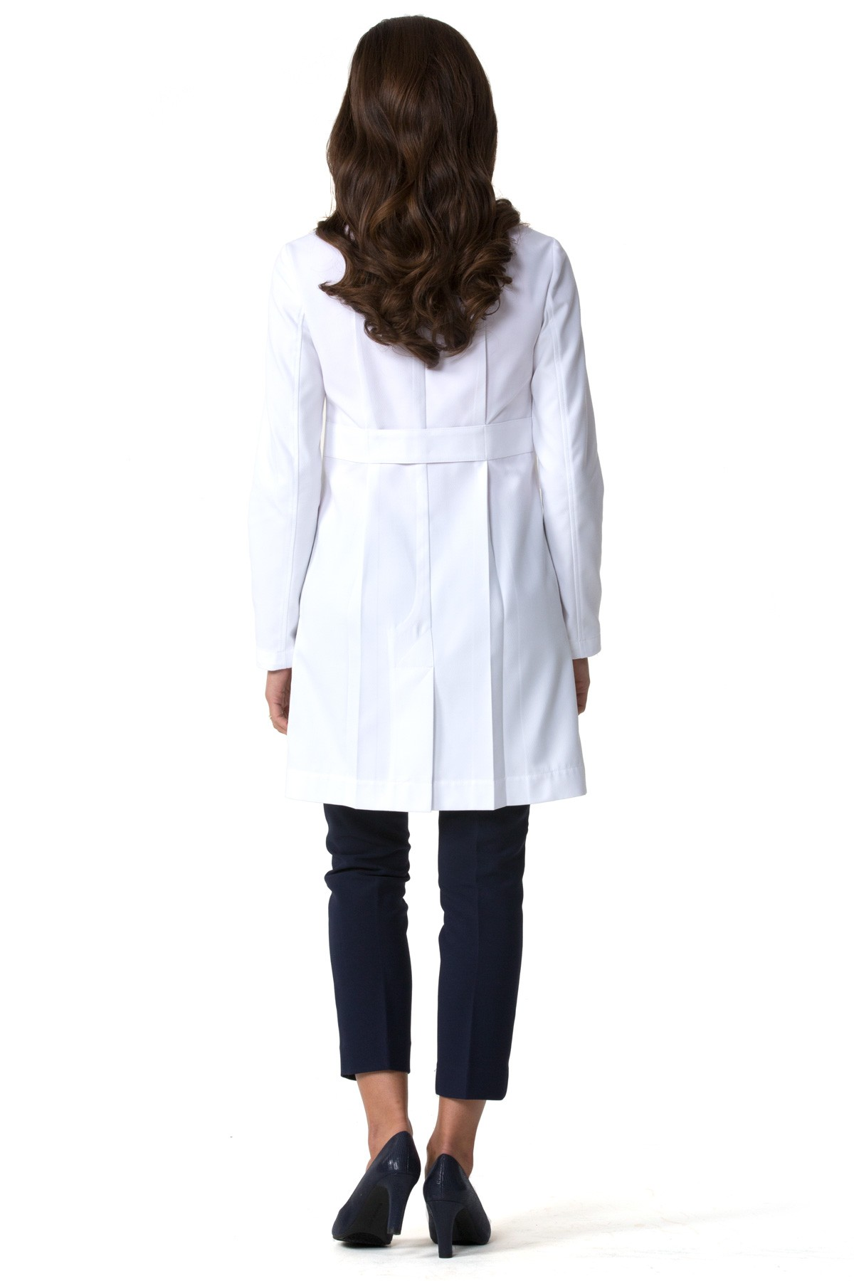 The first true petite lab coat for women, the Ellody back waistband elongates a woman's silhouette.