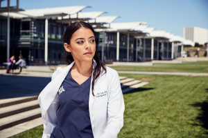 Womens Stylish Lab Coat and Navy Scrubs