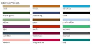 Lab Coat Embroidery Colors